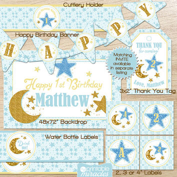 Twinkle twinkle little star birthday decoration kit, Custom printable party package with glittery gold and blue stars and moon