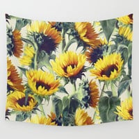 Sunflowers Forever Wall Tapestry by Micklyn