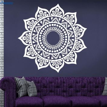 Custom Color Mandala Indian Round Yoga Wall Stickers Removable Waterproof Vinyl Stickers Home Decor Om Datura Symbol Mehndi MA28