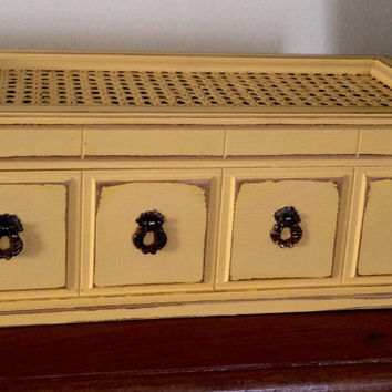 Vintage Wood Jewelry Box Hand Painted In Yellow distressed and Waxed