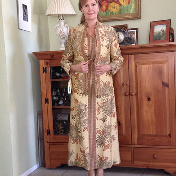 Vintage 1960s Dress and Jacket 2 Piece Set Gold Knit Metallic Floral Print  Alfred Shaheen Evening Prom Medium