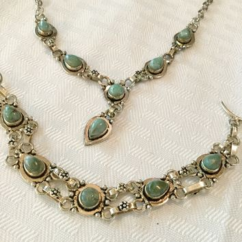 Deal of the Day! Sterling silver Larimar necklace and bracelet