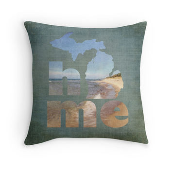 Michigan Home Pillow Cover, Lake Michigan Pillow Cover, Holland Michigan, Cabin Decor, Lake House Decor, Rustic Decor, MI Decor, West MI