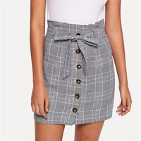 Women Mini Skirts Pencil Skirt Button Up Knot Front Plaid Skirts Womens Clothing Ladies Short Skirt