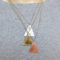 Mixed Metals Layered Necklace Geometric Triangles by OxArtJewelry