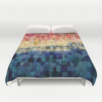 Blue Tide Mosaic Duvet Cover by Aloke Photography & Design