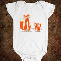 Two Fine Foxes - Onesuit / Baby One Piece / Bodysuit / - iOTA iLLUSTRATION
