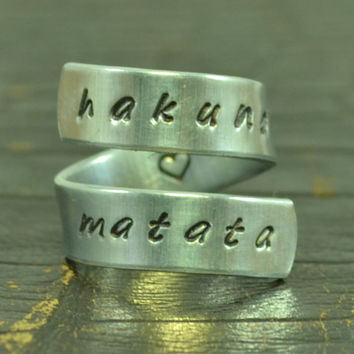 Hakuna Matata Ring Wrap Around Ring Adjustable by TheVillageGifts