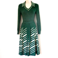 Vintage Knit Dress Green and White Striped