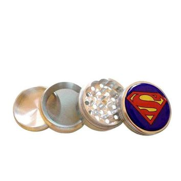 DCCKIX3 Superman Logo Herb Aluminum Grinder 2.2' 4 Piece w/ Pollen Screen = 1946331396