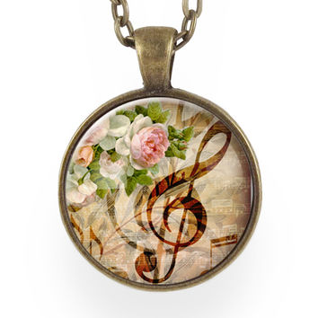 G-Clef Necklace In Brown