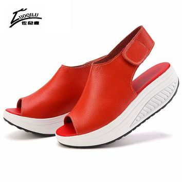 Women Sandals Genuine Leather Platform Sandals Summer Ladies Wedge Sandals Woman Summer Shoes Sandalia Feminina
