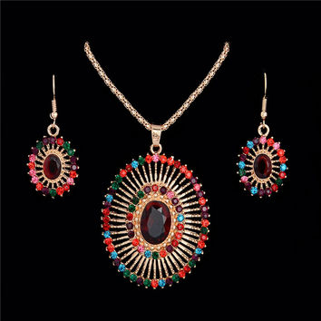 Bohemian Fashion Multi-colored Rhinestone Oval Shape African Beads Wedding Jewelry Set For Women Earring Pendant Necklace