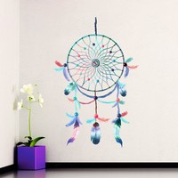 Wall Decal Dreamcatcher Vinyl Sticker Native American Feathers Colorful Multicolored Dream Catcher Decals Yoga Boho Art Decoration DD124