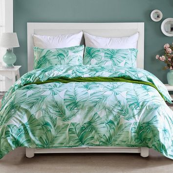 Tropical Green Plant Leaf Printing Duvet Cover Set Twin Queen King Size Bedding Set Single Double Bed Linen Soft Bedclothes