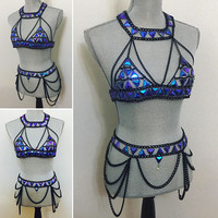 electric bule rave chain bra /belt . Size small . Avaliable for custom order