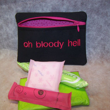 Oh Bloody Hell Tampon & Maxi Pad Taxi Black and Pink Zippered Fabric Purse Pouch / Tampon Keeper