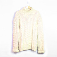 Vintage off white oatmeal thick wool sweater. Oversized sweater. Chunky knit pullover. Fishermans sweater. Turleneck - Beige - Jumper