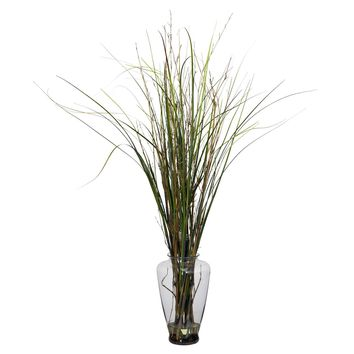 Grass & Bamboo w-Large Jar Silk Plant