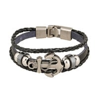 Handmade Retro Leather Woven Anchor Charm Bracelet Men Vintage Braided Bracelets Bangles Male Jewelry NP356