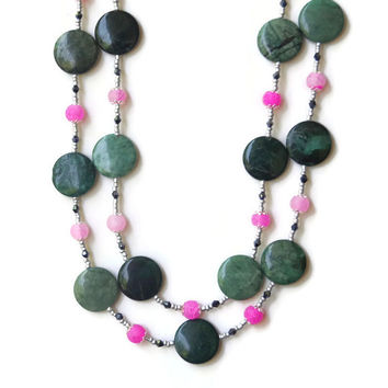 Sage Green Pink Double Wrap Necklace, Semi Precious Natural Stones Jasper Agate, Flapper Jewelry, Extra Long, OOAK Unique ALFAdesigns