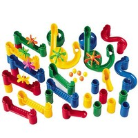 CP Toys Build and Play Marble Run Accessory Set with 34 Plastic Components and 6 Marbles