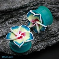 Hawaiian Plumeria Flower Acrylic Ear Gauge Plug