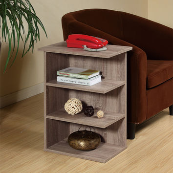0-002259>Magazine Rack Chairside End Table Rustic Gray