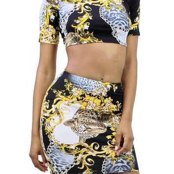 Animal Print Round Neck Short Sleeve Crop Top and High Rise Mini Skirt Set