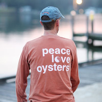 Peace, Love & Oysters Long Sleeve T-Shirt | Be The Bay