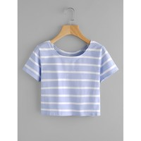 Contrast Striped Tee Casual