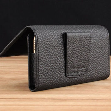 Black Pebble Grained Leather Belt Loop Holster for Apple iPhone 6 Plus / 6S Plus