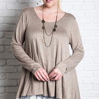 Lace Hem Knit Top - Mocha