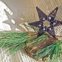 Glass Star Ornament or Suncatcher - Purple Glass with Clear Silvery Glass accent beads