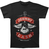 Johnny Cash Men's  Winged Guitar T-shirt Black