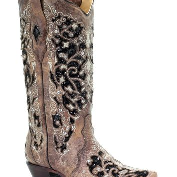 Corral Brown Inlay Flowered Embroidery Stud & Crystal Snip Toe Western Boots
