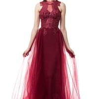 fancy burgundy formal dress   #TR77124