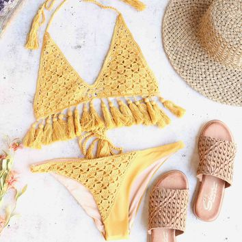 Somedays Lovin Mystifying Crochet Bikini Top / Bottom Separates