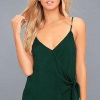 Take Note Forest Green Wrap Top