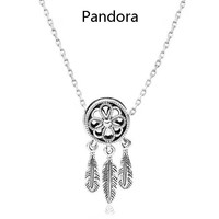 Pandora New Fashion Capture Network Feather Sterling Silver Necklace Women Silver