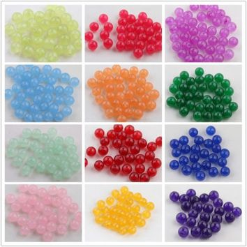 Fashion DIY 6/8/10mm Jade Gemstone Round Loose Spacer Beads