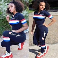 Champion Newest Fashion Women Casual Print Top Pants Trousers Set Two-Piece Sportswear