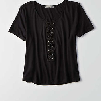 Don't Ask Why Lace-Up T-Shirt, Black
