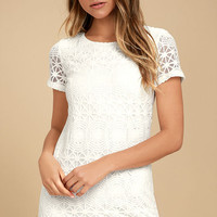 Love You For Eternity White Lace Shift Dress