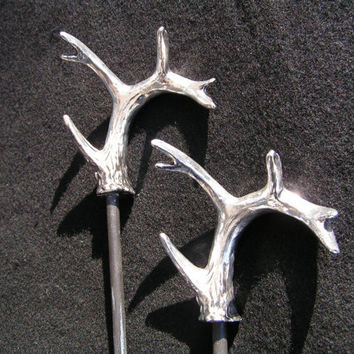 Antler hair stick in antique silver  stag  deer  roe by Atma