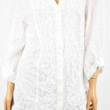 JM Collection Women White Embroidered Button Down Tunic Top Plus 1X