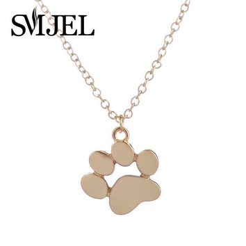 SMJEL 2017 New Tassut Cat Dog Paw Print Animal Necklace Women Pug Pendant Long Cute Delicate Statement Necklace N191