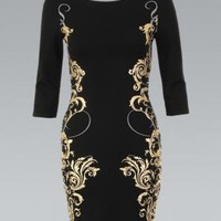 Black Long Sleeve Dress with Gold&Silver Baroque Print