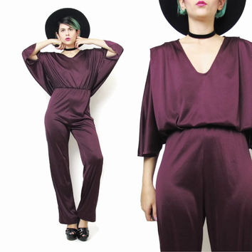 1970s Disco Jumpsuit Plum Purple Jumpsuit Draped Jersey Batwing Sleeves Jumpsuit Pleated Slouchy Pantsuit Elastic Party Romper Onesuit (S/M)