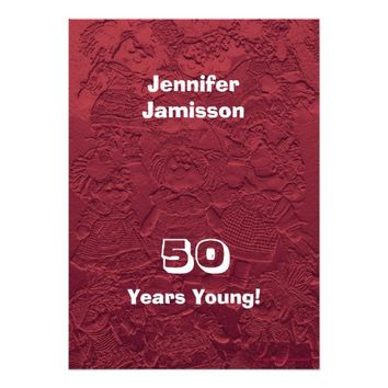 50th Birthday Party Red Dolls Custom Invitations
